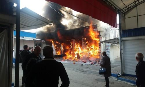 В Симферополе горел Центральный рынок