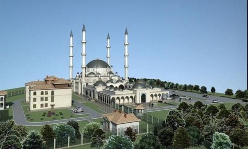 Симферопольская соборная мечеть. Вид на начало января 2020
