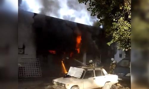 Спасатели потушили пожар на стадионе «Локомотив»