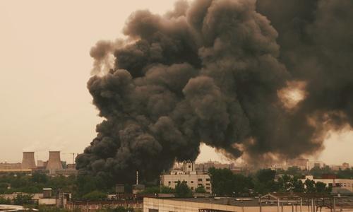 Видео с коптера пожара в поселке Битумное